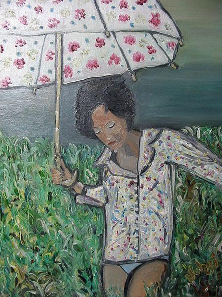 Gewitter, Feld, Mädchen, Schirm, Wiese, Malerei