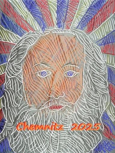 Cemnitz 2025, Plakatentwurf, Portrait, Kulturhauptstadt, Mischtechnik