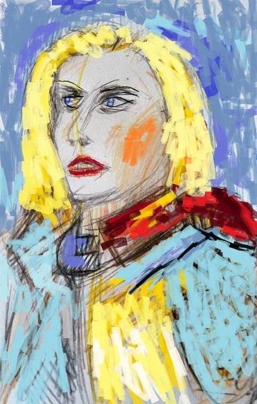 Charakter, Illustration, Frau, Portrait, Mischtechnik, Hommage