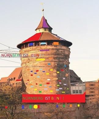 Nürnberg, Fahne, Bunt, Farben, Königstor, Kran