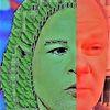 Menschen, Gesicht, Rot grün, Frau