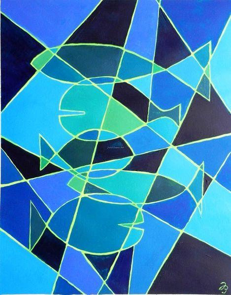 Fische, Linie, Schattierung, Abstrakt, Blau, Malerei