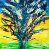 Baum, Explosion, Acrylmalerei, Malerei