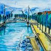 Baum, Aquarellmalerei, Niederlande, Brücke