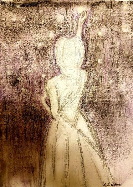 Himmel, Haare, Traum, Leuchten, Frau, Hand