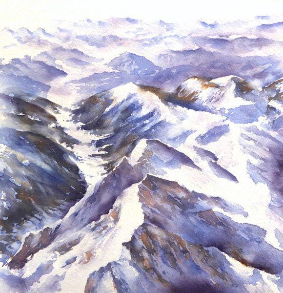 Winter, Gipfel, Aquarellmalerei, Schnee, Alpengipfel, Alpen