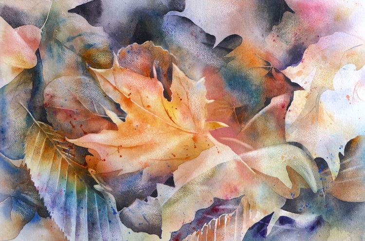 Herbst, Blätter, Aquarellmalerei, Aquarell,