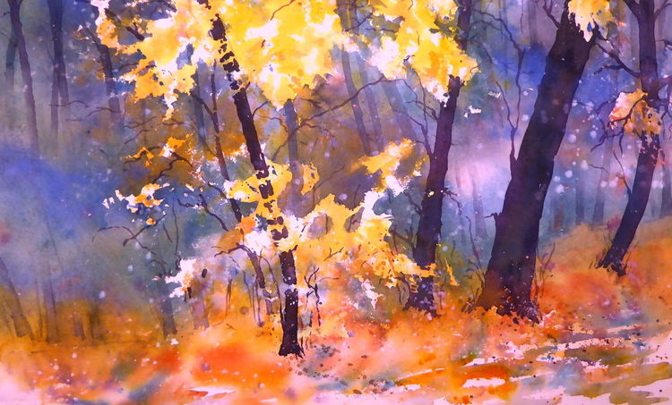 Herbst, Aquarellmalerei, Wolken, Nebel, Wald, Aquarell