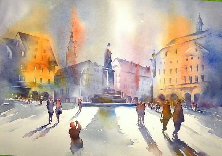Aquarellmalerei, Prinz albert, Coburger marktplatz, Coburg, Aquarell, Marktplatz