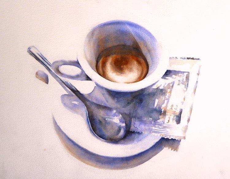 Italien, Aquarellmalerei, Espresso, Kaffee, Aquarell,