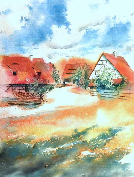 Geschichte, Aquarellmalerei, Freilichtmuseum, Bad windsheim, Fachwerk, Aquarell