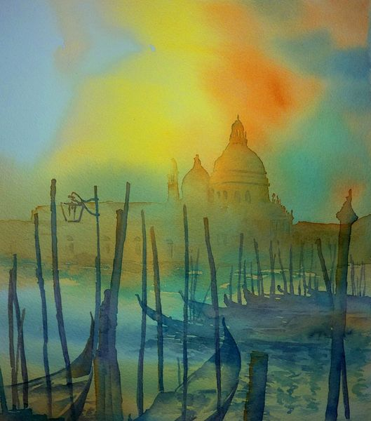 Italien, Aquarellmalerei, Venezia, Gondel, Venedig, Malerei