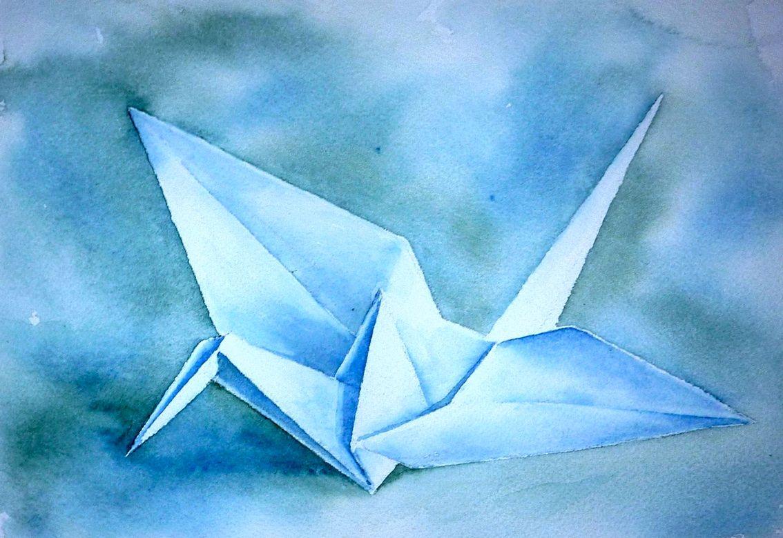 Bild: Kranich, Origami, Papierfalten, Aquarellmalerei von Thomas ...