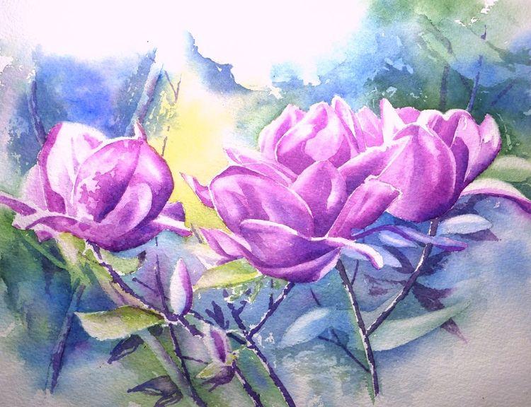Violett, Aquarellmalerei, Blumen, Kamelie, Lila, Aquarell