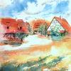 Freilichtmuseum, Aquarellmalerei, Bad windsheim, Fachwerk