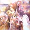 Huhn, Hühnerhof, Aquarellmalerei, Henne