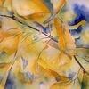 Aquarellmalerei, Gelb, Herbst, Ginkgo