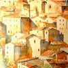 Sorano, Italien, Aquarellmalerei, Toskana