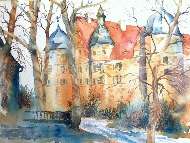 Schloss, Coburg, Weihnachten, Mitwitz, Aquarellmalerei, Burg