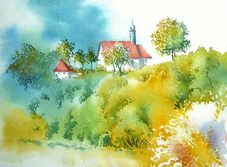 Nordheim, Aquarellmalerei, Unterfranken, Bayer, Sebastianskapelle, Rhön