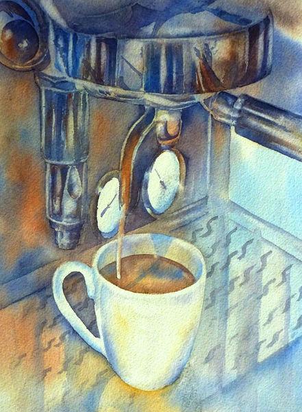 Aquarellmalerei, Espresso, Kaffee, Siebträger, Aquarell
