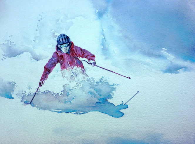 Ski, Aquarellmalerei, Tiefschnee, Schnee, Skifahren, Winter