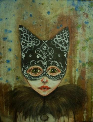 Kind, Verkleidung, Katze, Maske, Karneval, Malerei
