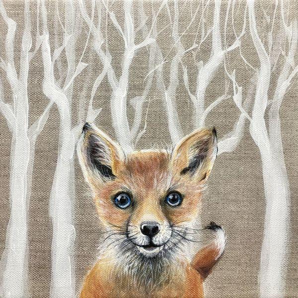 Wald, Malerei, Acrylmalerei, Fuchs