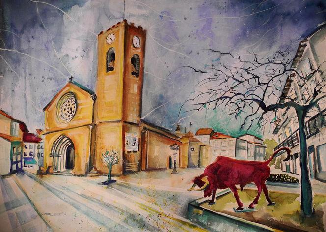 Bild aquarell architektur kirche portugal von for Architektur aquarell