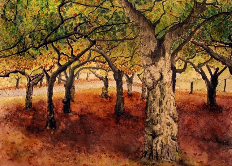 Tusche, Laub, Oktober, Herbst, Aquarellmalerei, Wald