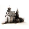 Kapelle, Tuschmalerei, Zeichnung, Sepia