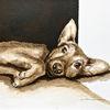 Zeichnung, Hund, Welpe, Tuschmalerei