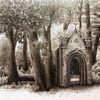 Sepia, Tuschmalerei, Zeichnung, Kapelle