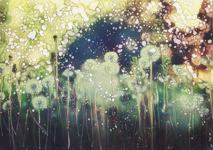 Sommer, Wiese, Blumen, Löwenzahn, Malerei
