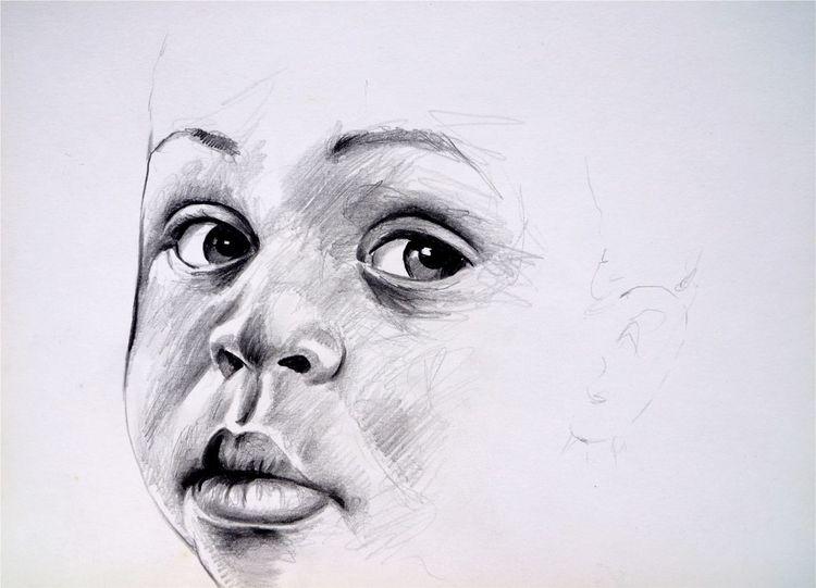 Bleistiftzeichnung child, Kind, Bleistiftskizze kind, Pencildrawing child, Kinderportrait bleistiftzeichnung, Zeichnungen