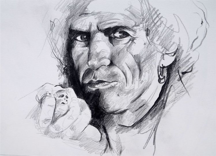 Keith richards zeichnung, Stones zeichnung, Rolling, Keith richards, Portrait keith richards, Zeichnung