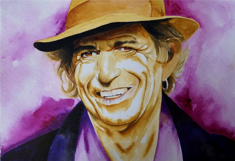 Aquarellmalerei, Portrait, Keith richards, Aquarell