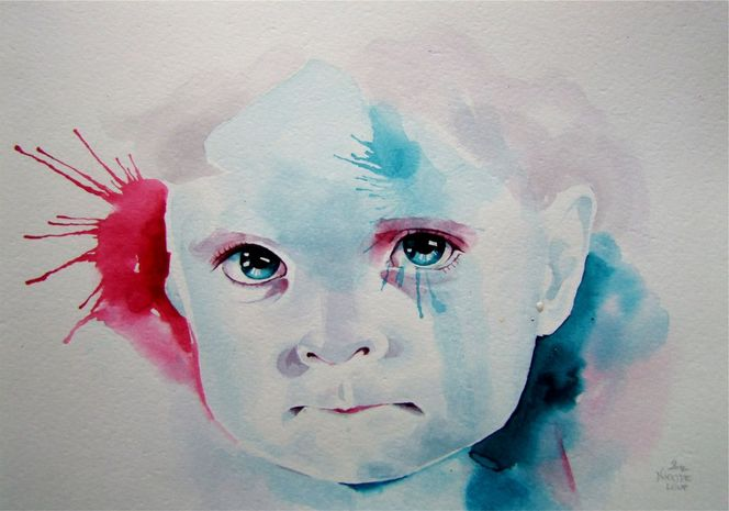 Portrait, Aquarellmalerei, Model, Beautiful face, Gesicht, Malerei