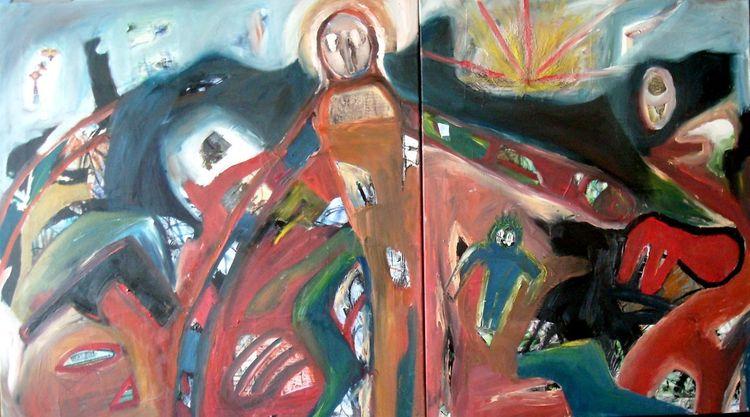 Mischtechnik, Malerei, Flucht