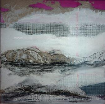 Sonnenaufgang, Arktis, Schnee, Berge, Malerei, Abstrakt