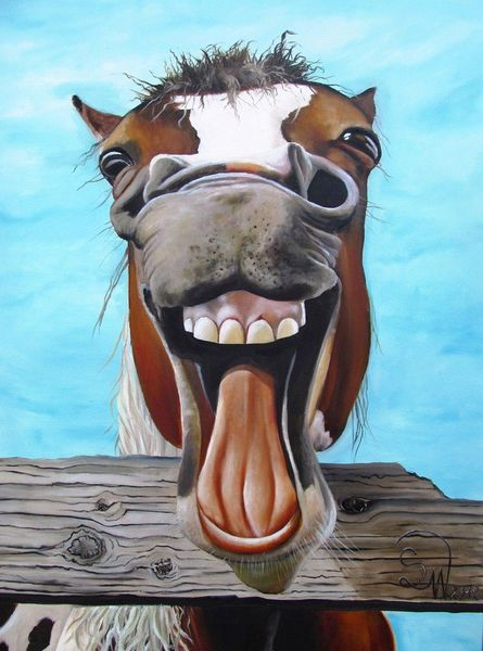 Pferde, Humor, Karikatur, Portrait, Ölmalerei, Malerei