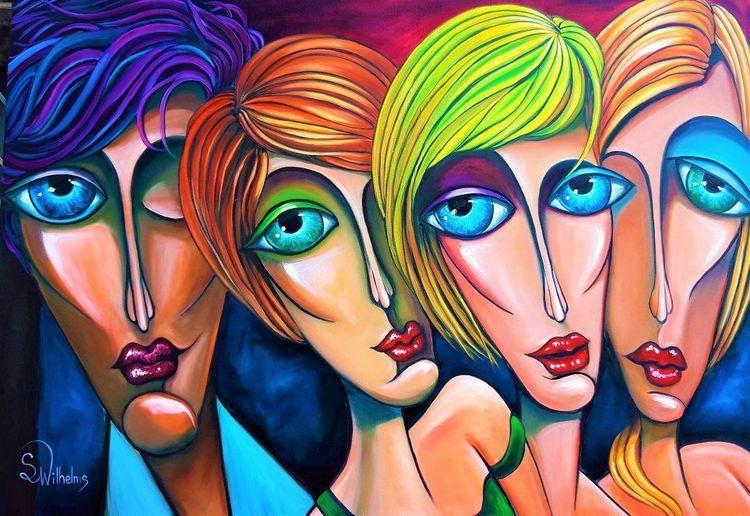 Portrait, Treffen, Menschen, Augen, Malerei,
