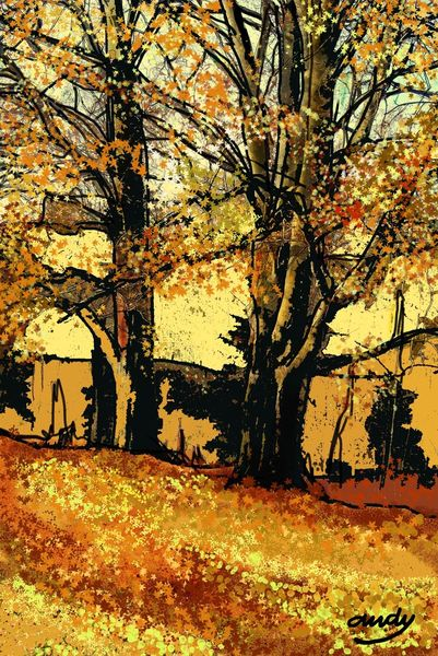 Digitale kunst, Wald, Natur modern, Digital, Herbst