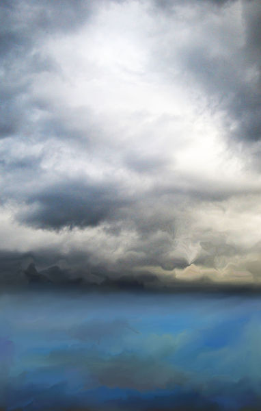 Digital, Malerei, Wolken, Meer