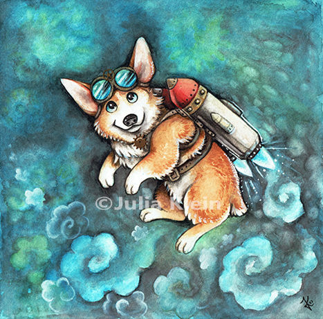 Steampunk, Rakete, Corgi, Cartoon, Tiere, Hund