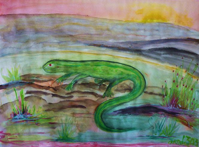 Augenblicke, Welt, Landschaft, Urschwingung, Echse, Reptil