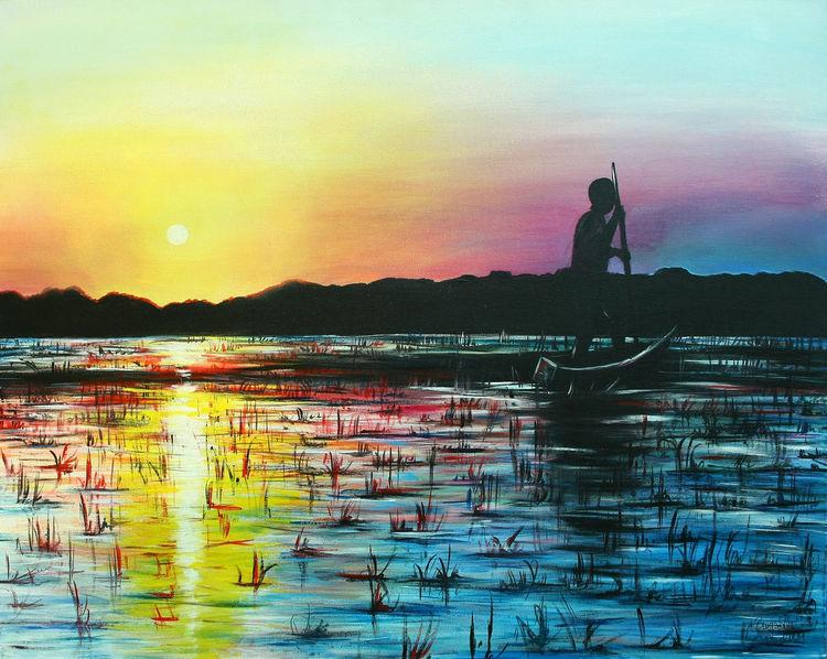 Sonnenuntergang, Moderne malerei, Acryl gemälde, Abendrot, Malerei, Afrika