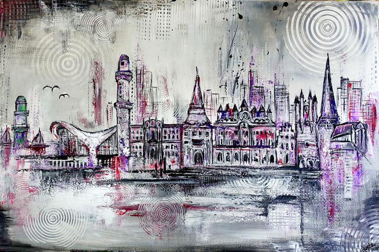 Stadt, Leuchtturm, Gemälde, Steintor, Malerei, Acrylmalerei