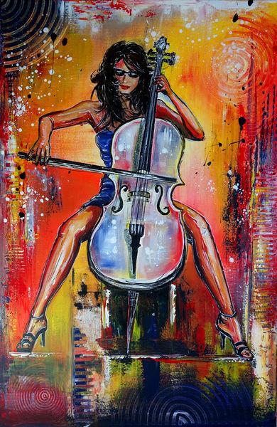 Cello, Acrylmalerei, Aufragsmalerei, Malen, Musiker, Gemälde
