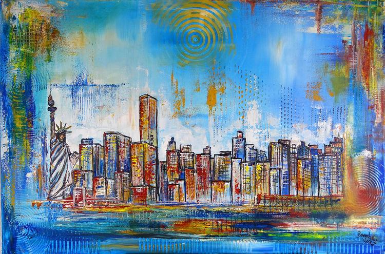 Stadt, Malerei, Städtemalerei, New york, York, Skyline